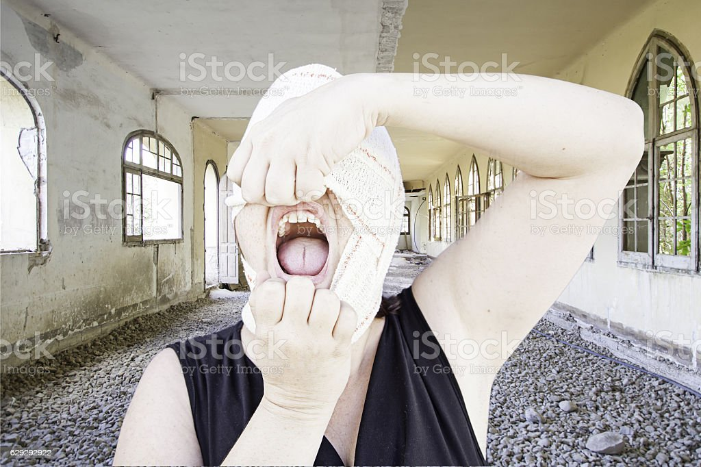 Sick woman hysterical stock photo