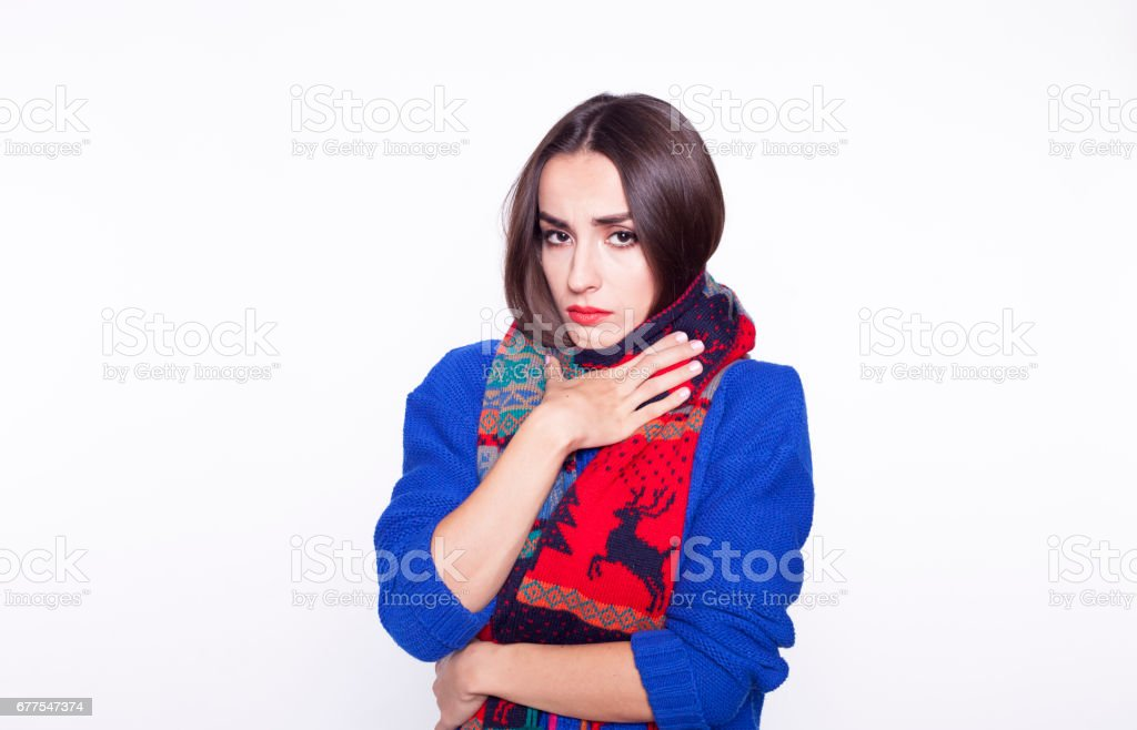 Sick woman isolated. royalty-free stock photo