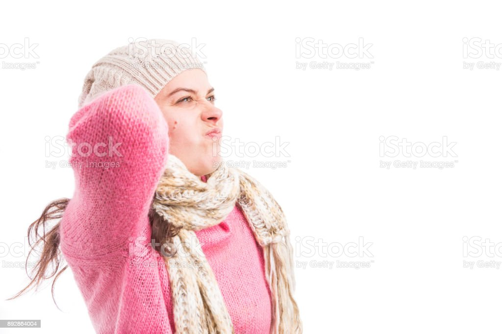 Sick woman suffering of back neck or scruff pain stock photo