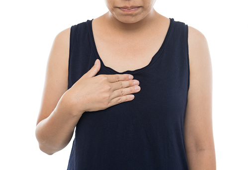 istock Sick woman with acid reflux,woman suffering from heartburn on white background 1037595664