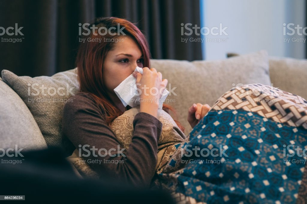 Sick woman with flu royalty-free stock photo
