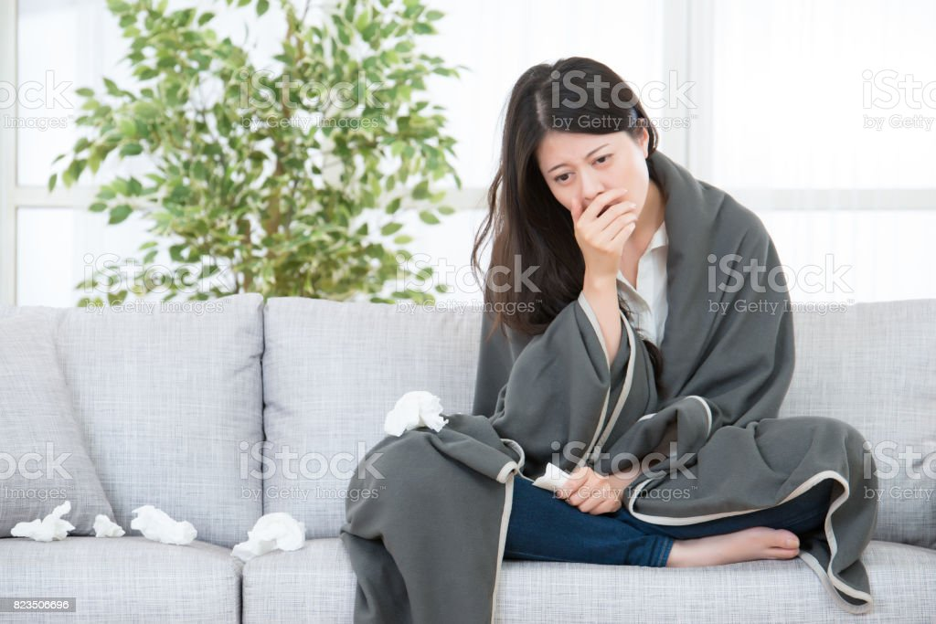 Sick Woman Woman Caught Cold and flu stock photo