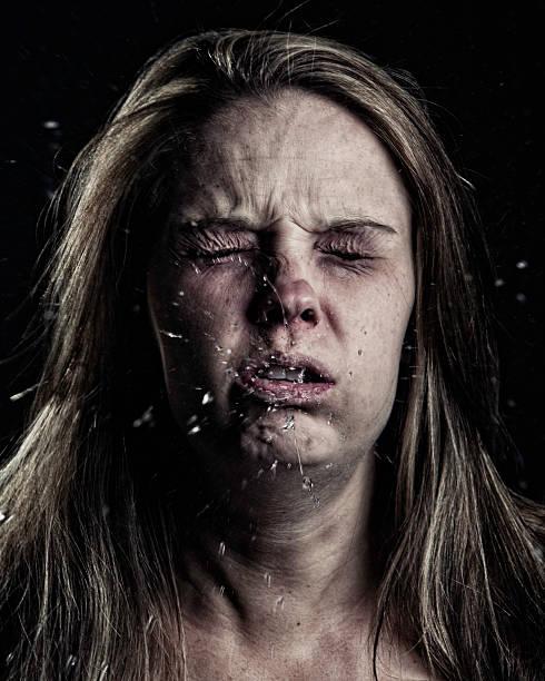 Sick Woman-Sneezing stock photo