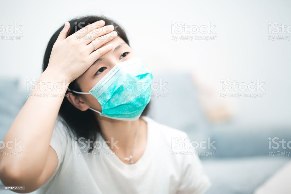 Sick Photo Woman Image Stock - At Home Young Download Wearing Mask