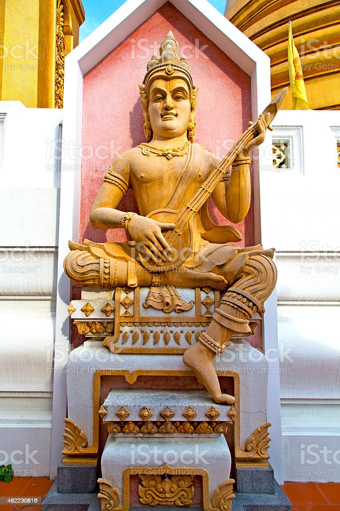 siddharta   in the temple bangkok asia  mandolin stock photo