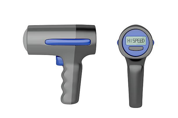 seite und hinten blick auf radar pistole - geschwindigkeitskontrolle stock-fotos und bilder