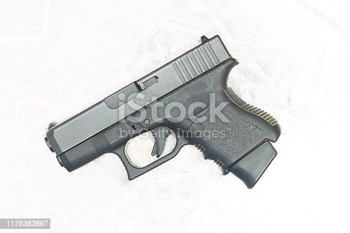 Side aspect of Glock26 pistol gun