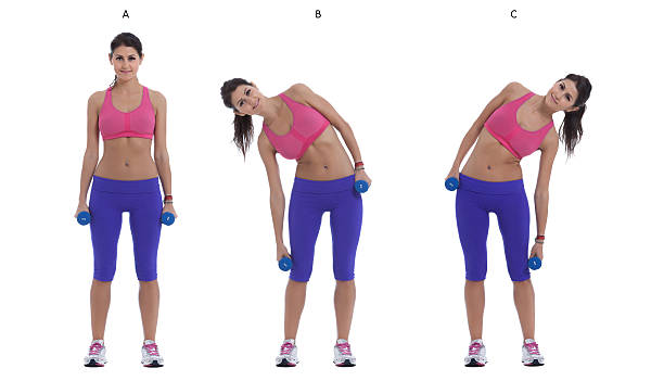 Side Bend With Dumbbells Step by step instructions: Stand with your feet hip-width apart holding a pair of dumbbells at your sides. (A)  Bend sideways to the right, squeezing your waist on the right side. Keep your neck as neutral as possible, looking forward not down. (B) Switch sides, bend to the left. (C) bending stock pictures, royalty-free photos & images