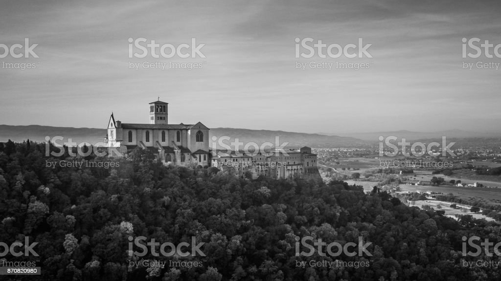 Side black and white panoramic view of Saint Francis Basilica, Assisi, Italy stock photo
