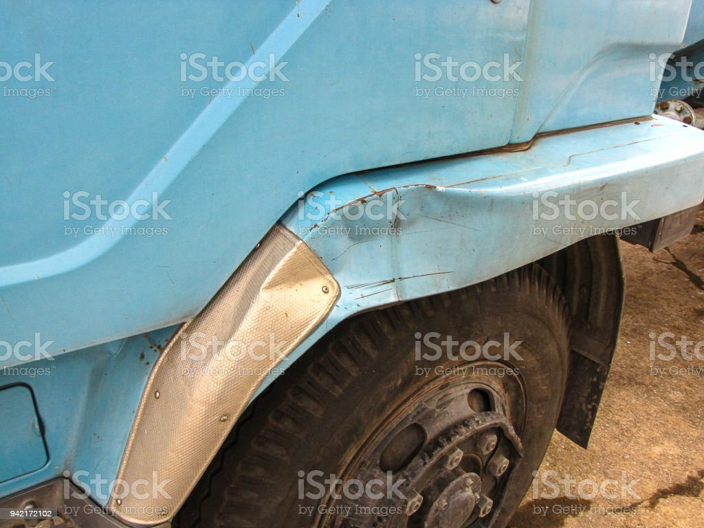 Side body of truck was damaged stock photo