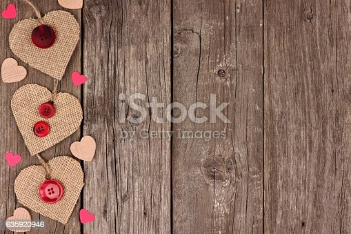 Side Border Of Valentines Day Burlap Hearts Over Rustic Wood Stock Photo More Pictures Above