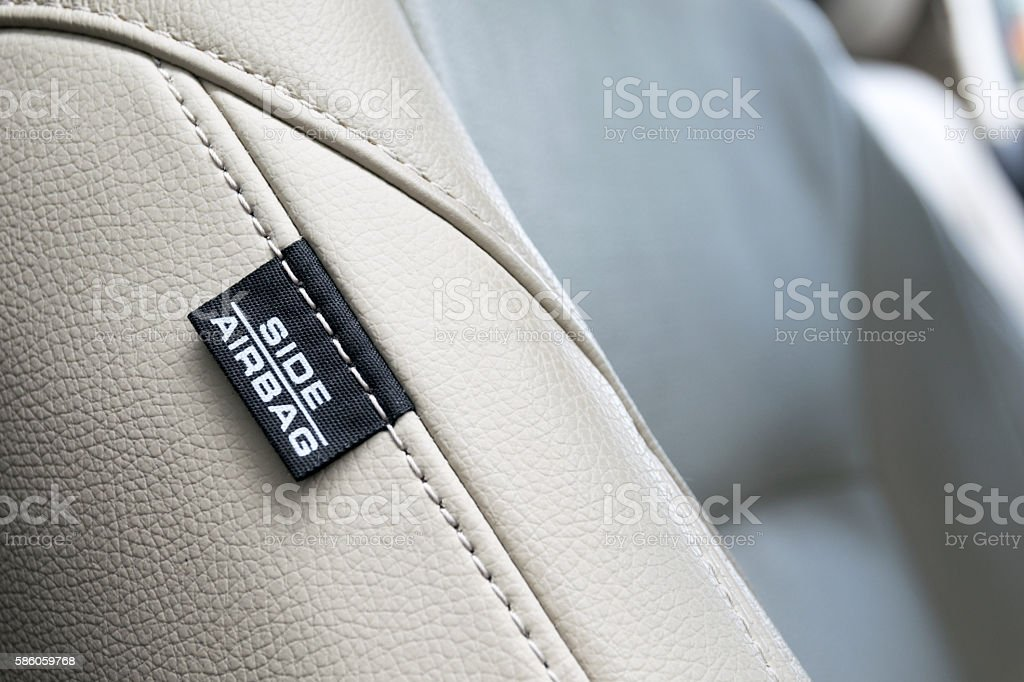 Side Car Airbags Tag. increased safety in a car stock photo