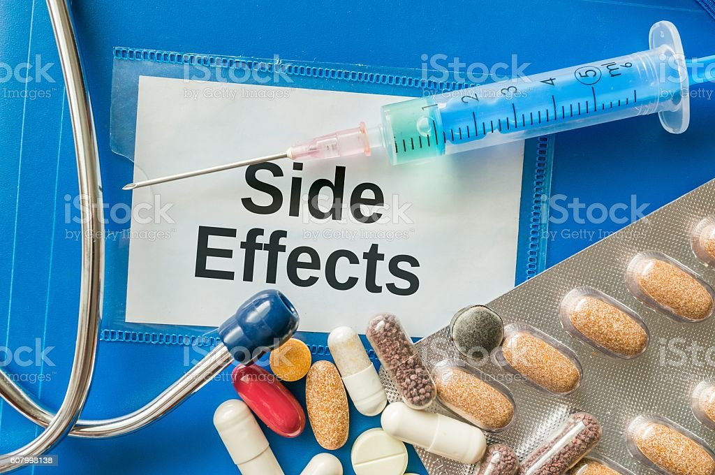 Side effects of medicine concept. Many pills and drugs. stock photo