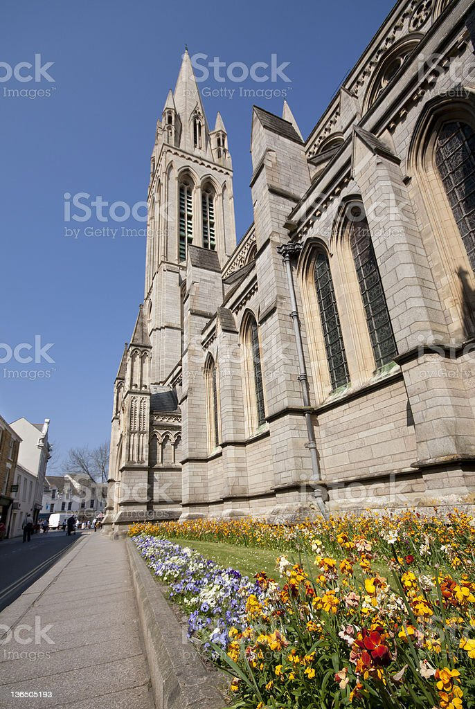 Side Elevation of Truro Cathedral. stock photo