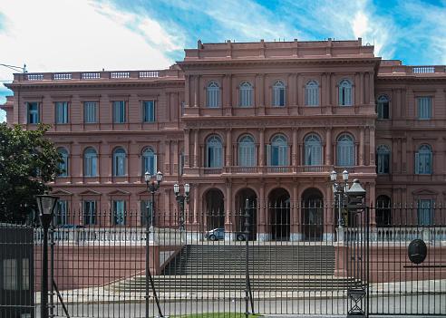 Side entrance to Casa Rosada in Buenos Aires, Argentina.