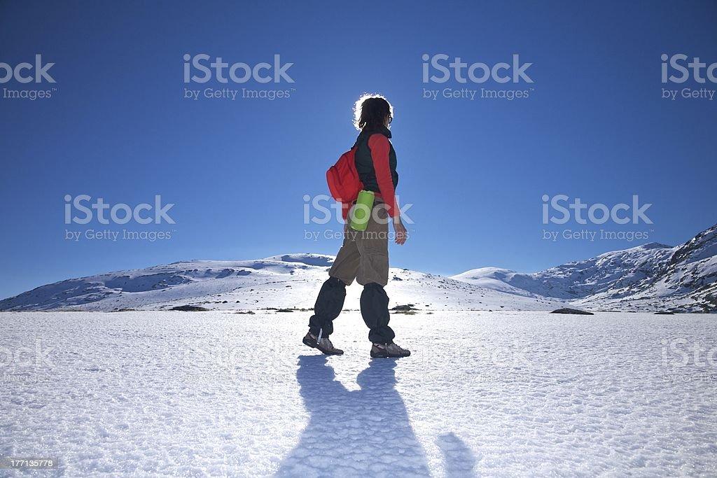 side hiking woman stock photo