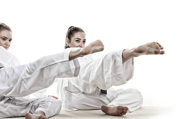 Side kick practice stock photo