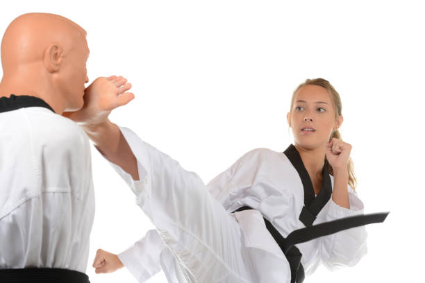 Side Kick Target Training stock photo