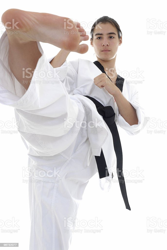 Side kick technique and execution royalty free stockfoto