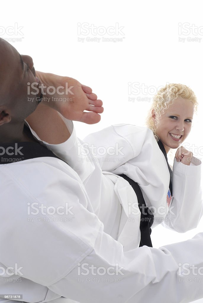 Side kick to the face royalty-free stock photo