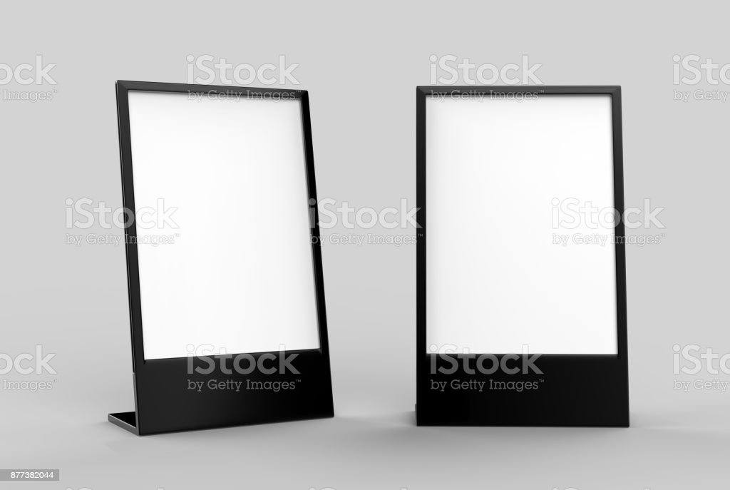 Side loading slide in metal frame table top counter. Blank white 3d render illustration stock photo