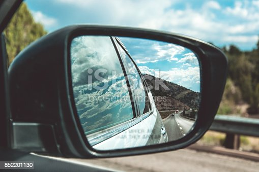 144334852 istock photo Side mirror of the car. View from the window 852201130