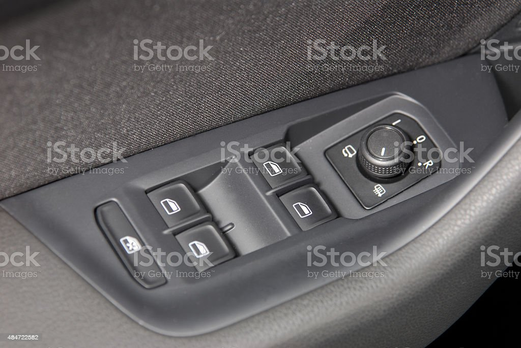 side mirror switch control and window button stock photo