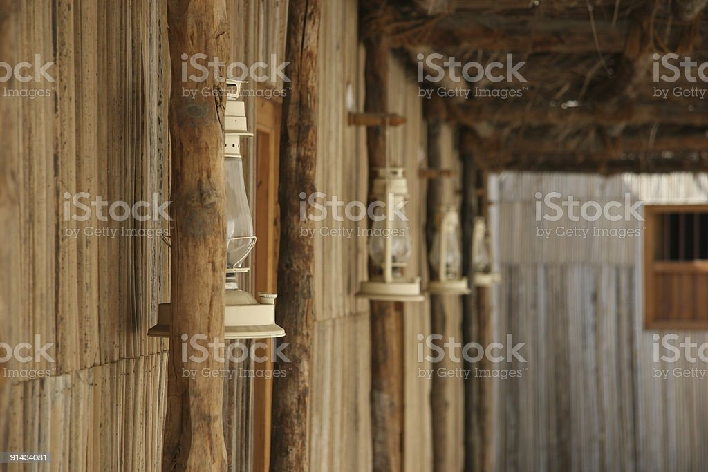 Side of a Hut with Lanterns royalty-free stock photo