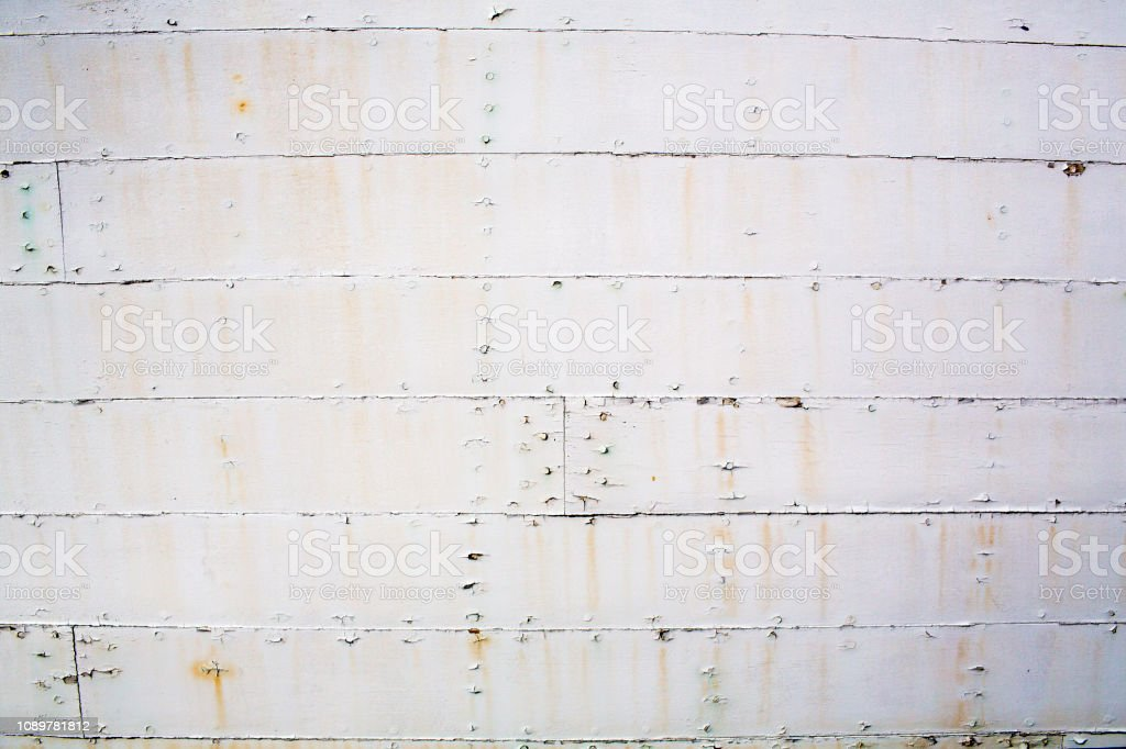 Side Of An Old Ship Hull Grunge Background Stock Photo