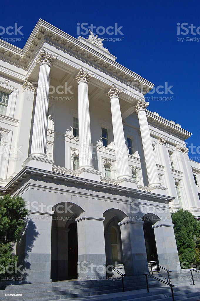 Side of California State Capitol building stock photo