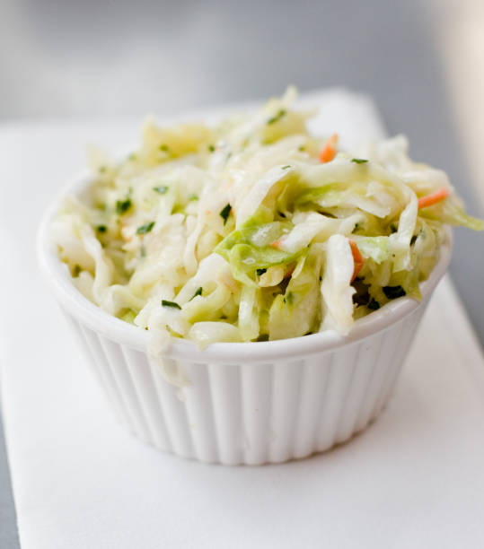 side of cole slaw - coleslaw stock pictures, royalty-free photos & images