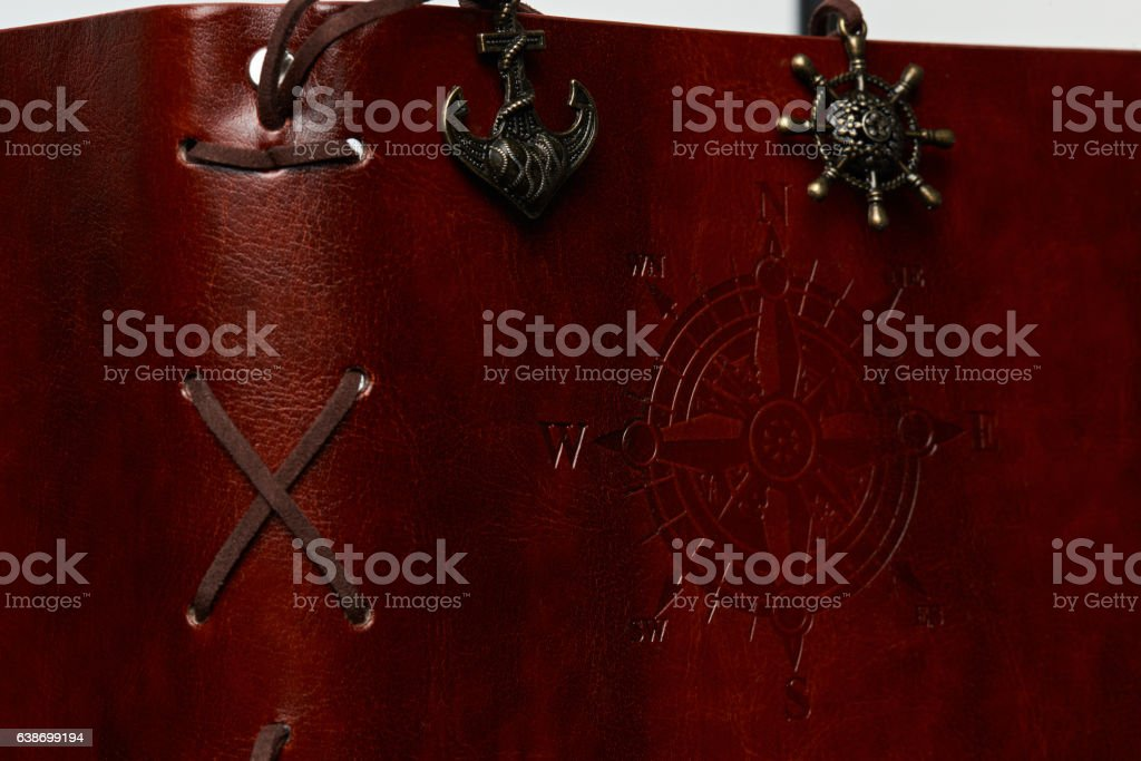 Side of leather book cover stock photo