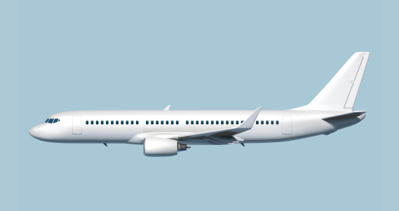 Side of modern mid-sized passenger airplane (3D rendering).