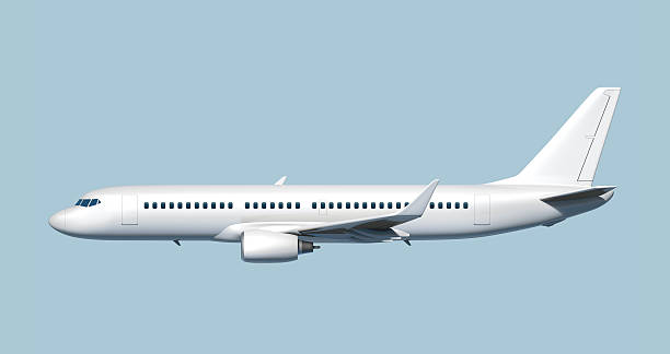 Side of passenger jet airplane - easy to cut out. Side of modern mid-sized passenger airplane (3D rendering). side view stock pictures, royalty-free photos & images