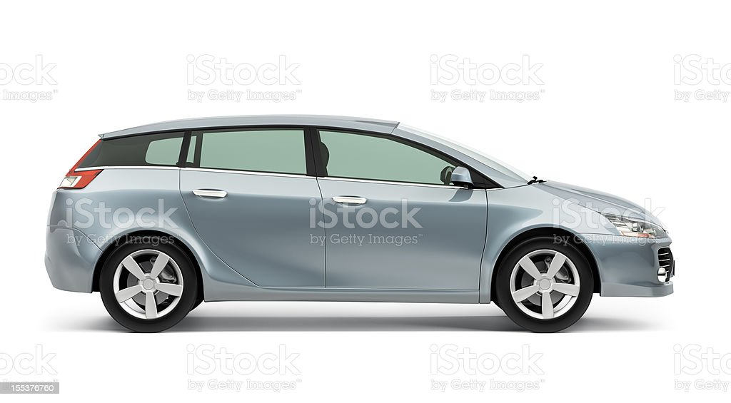 Side of silver modern compact car on a white background Side of modern compact car on white background. Alloy Wheel Stock Photo