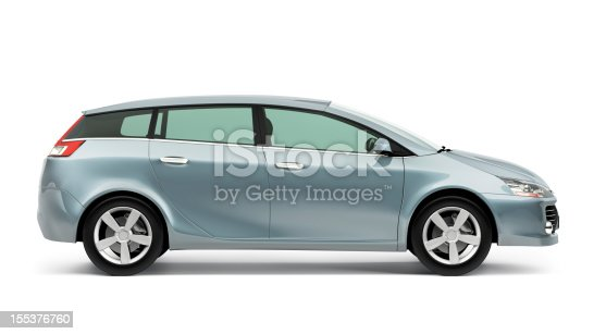 Side of modern compact car on white background.