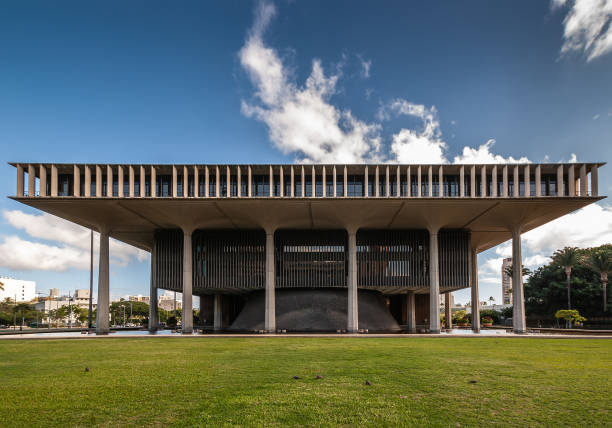 Side of State Capitol in Honolulu, Hawaii, USA. stock photo