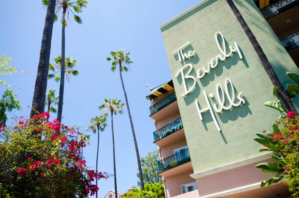 Side of the Beverly Hills Hotel stock photo