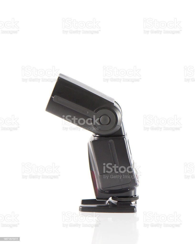 Side of the camera flash on a white background. stock photo