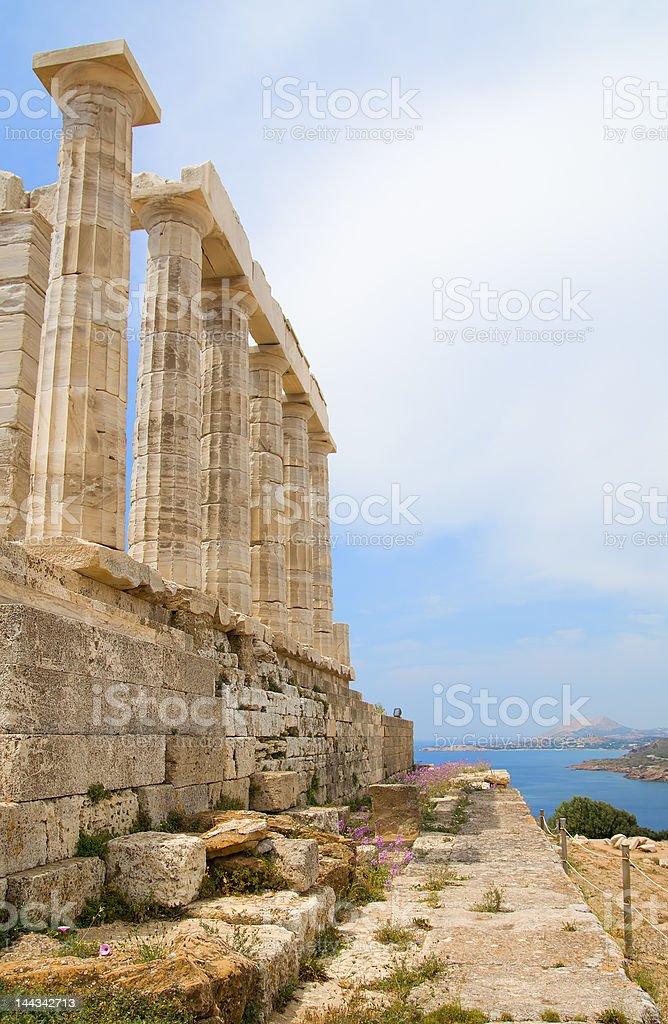 Side of the Poseidon Temple stock photo