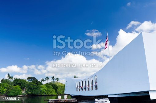 Honolulu, United States - April 17, 2011: The USS Arizona Memorial floating at Pearl Harbor and honoring the American lives that were lost on December 7, 1941.