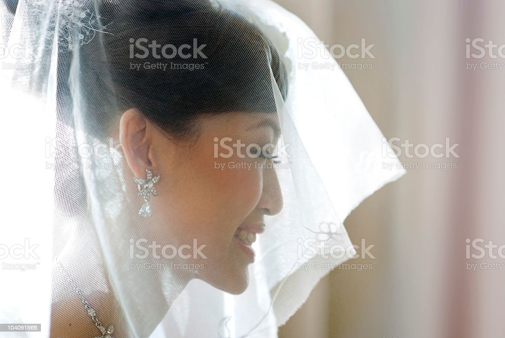 Side portrait of Asian bride wearing veil and smiling royalty-free stock photo