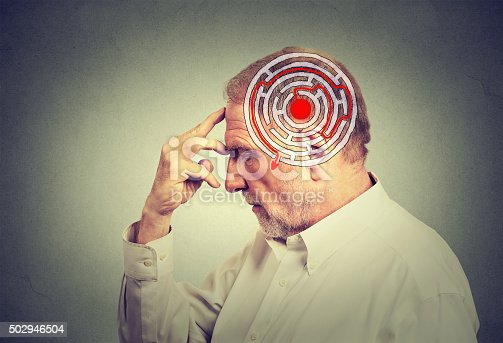 istock Side profile elderly man solving problem thinking 502946504