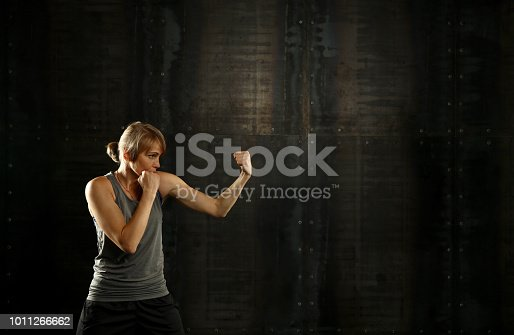 497607484 istock photo Side profile view of young athletic women boxing 1011266662