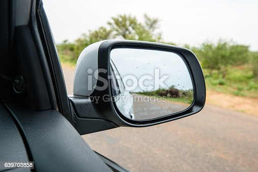 istock Side rear mirror of car showing elephant herd passing the 639703858