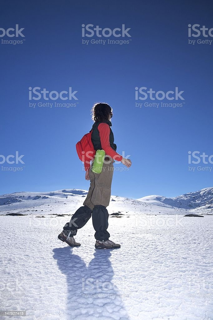 side red hiking woman stock photo