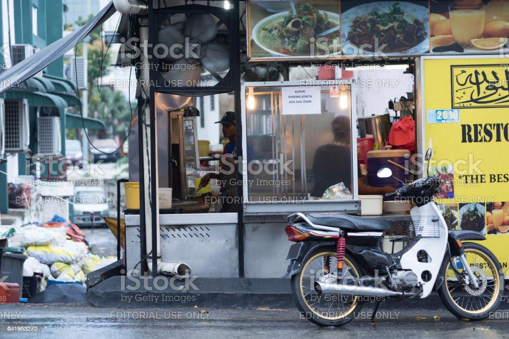 Side road restaurant in Johor Bahru, Malaysia stock photo