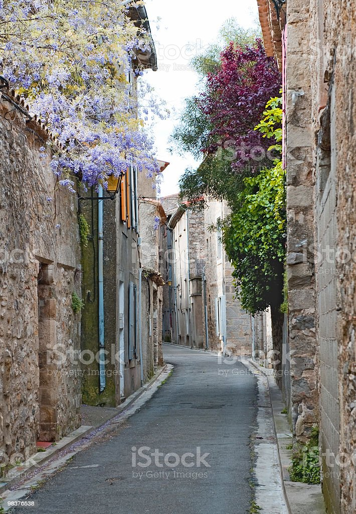 Side street in Lagrasse village royalty-free stock photo