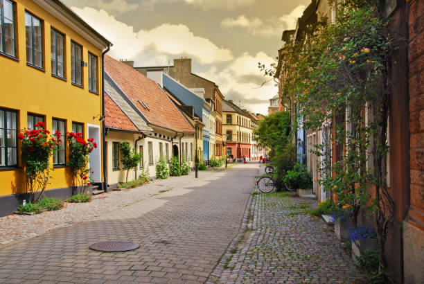 A side street in Malmo,Sweden stock photo