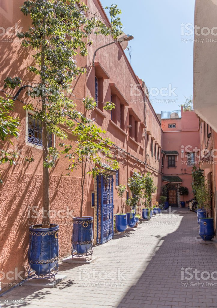 Side street with plants in old town Marrakesh stock photo